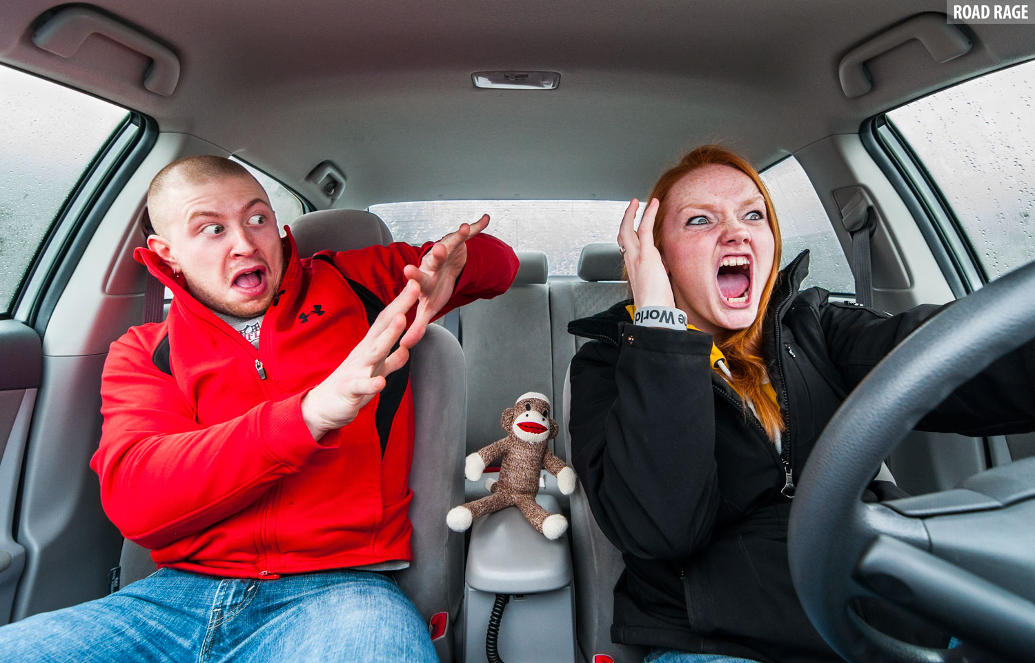 Couple in Car - Road Rage